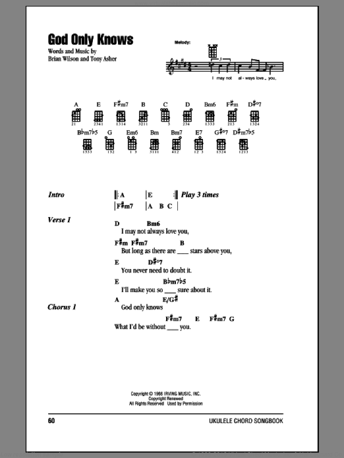 God Only Knows sheet music for ukulele (chords) by Tony Asher, Brian Wilson and The Beach Boys. Score Image Preview.