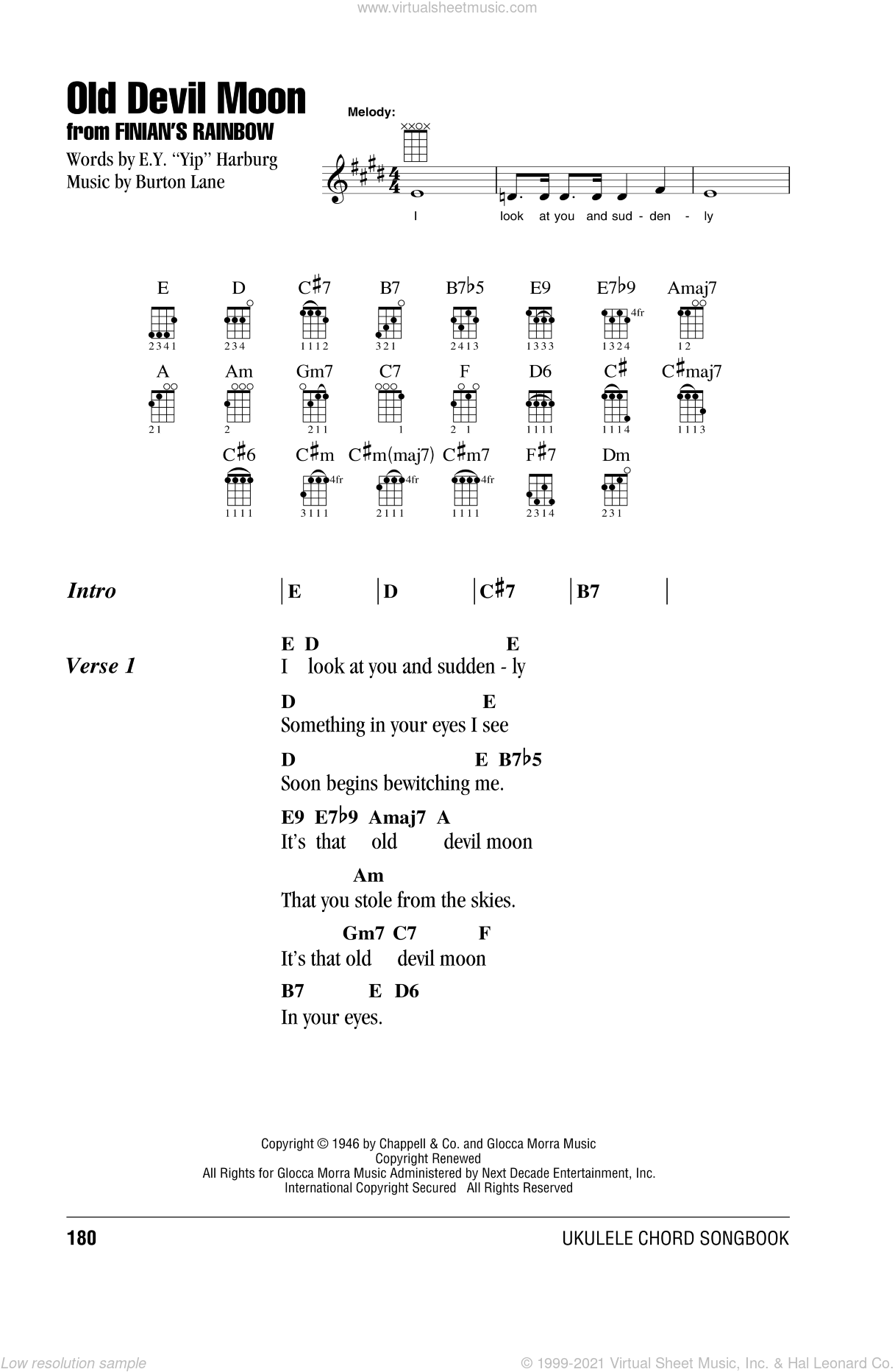 Old Devil Moon sheet music for ukulele (chords) by Burton Lane