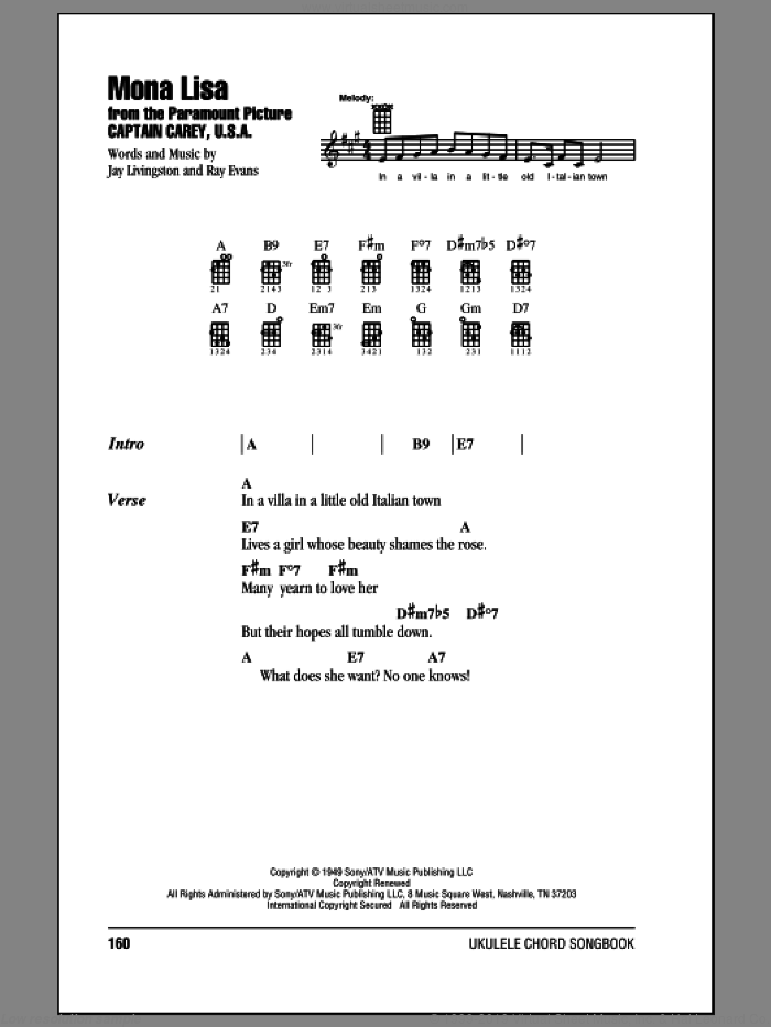 Mona Lisa sheet music for ukulele (chords) by Nat King Cole. Score Image Preview.