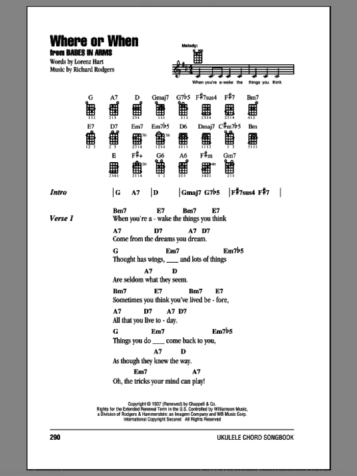 Belmonts Where Or When Sheet Music For Ukulele Chords