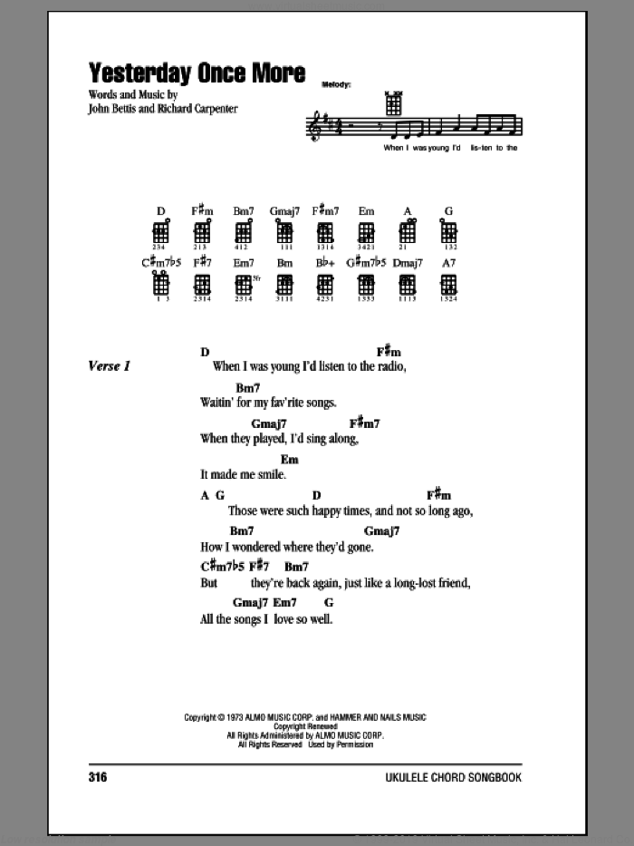 Yesterday Once More sheet music for ukulele (chords) by Carpenters and John Bettis, intermediate. Score Image Preview.