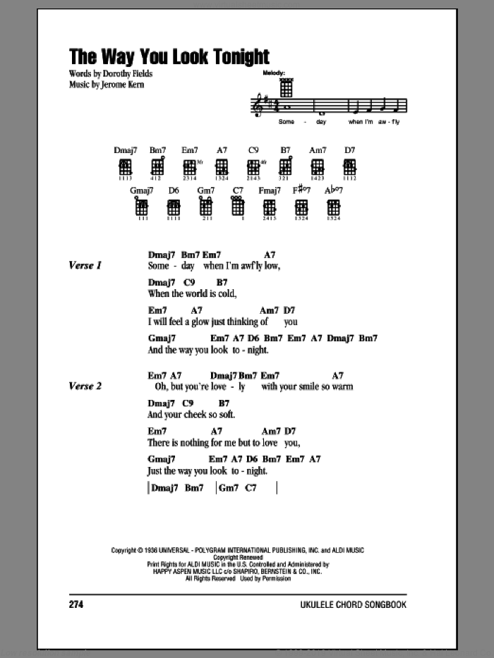 The Way You Look Tonight sheet music for ukulele (chords) by Dorothy Fields, Frank Sinatra and Jerome Kern. Score Image Preview.