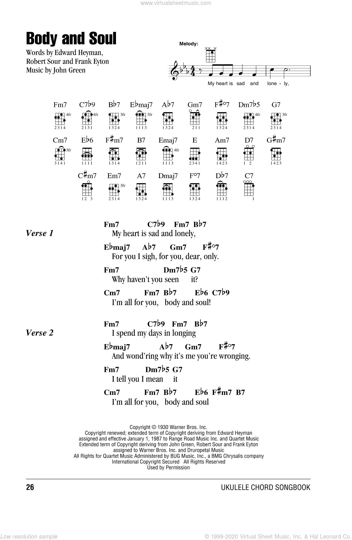 Body And Soul sheet music for ukulele (chords) by Tony Bennett & Amy Winehouse. Score Image Preview.