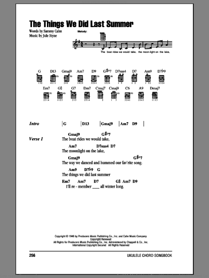 The Things We Did Last Summer sheet music for ukulele (chords) by Sammy Cahn
