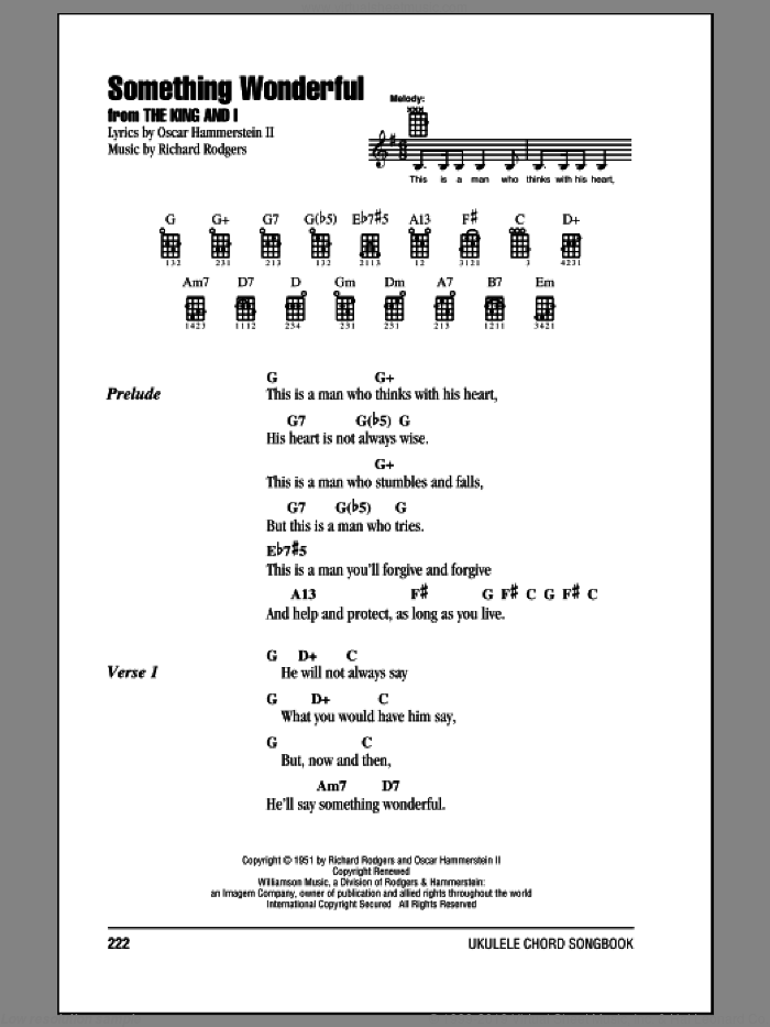 Something Wonderful sheet music for ukulele (chords) by Rodgers & Hammerstein, Oscar II Hammerstein and Richard Rodgers. Score Image Preview.