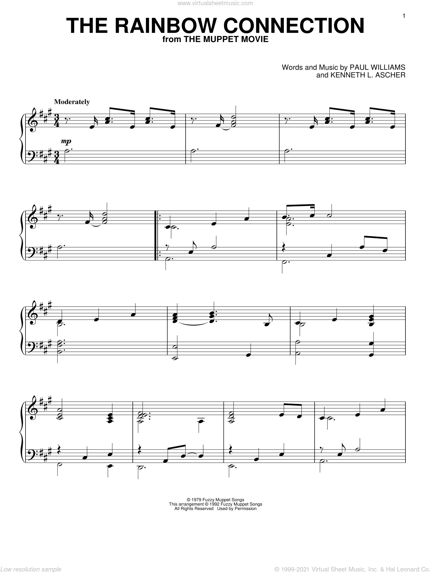 The Rainbow Connection sheet music for piano solo by Paul Williams. Score Image Preview.