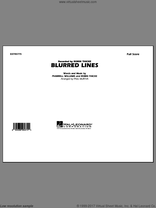 Blurred Lines (COMPLETE) sheet music for marching band by Paul Murtha