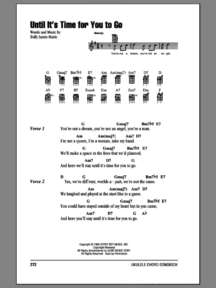 Until It's Time For You To Go sheet music for ukulele (chords) by Buffy Sainte-Marie
