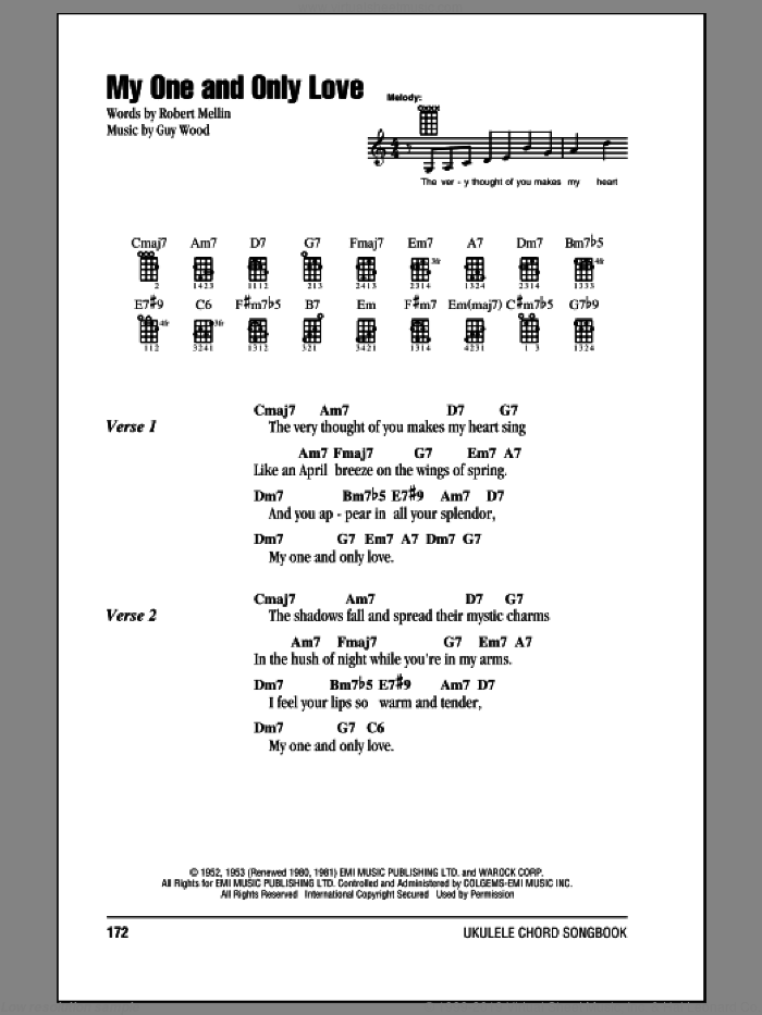 My One And Only Love sheet music for ukulele (chords) by Frank Sinatra, Guy Wood and Robert Mellin, intermediate. Score Image Preview.