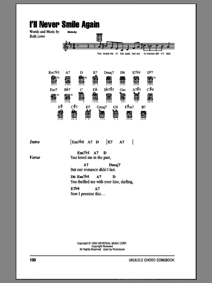 I'll Never Smile Again sheet music for ukulele (chords) by Tommy Dorsey & His Orchestra
