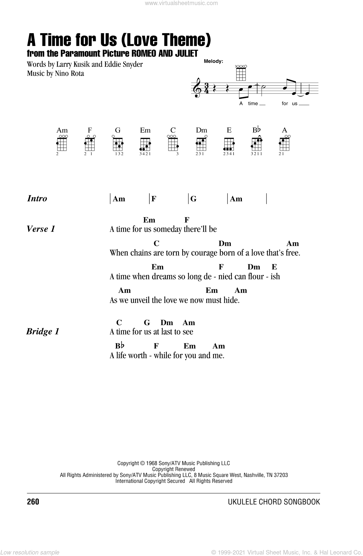A Time For Us (Love Theme) sheet music for ukulele (chords) by Henry Mancini, Eddie Snyder, Larry Kusik and Nino Rota, intermediate skill level