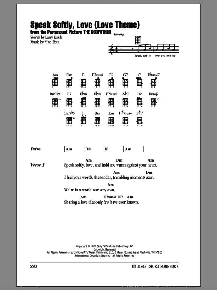 Speak Softly, Love (Love Theme) sheet music for ukulele (chords) by Andy Williams, Larry Kusik and Nino Rota. Score Image Preview.
