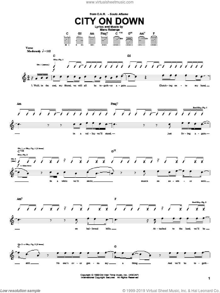 City On Down sheet music for guitar (tablature) by Marc Roberge and O.A.R.. Score Image Preview.