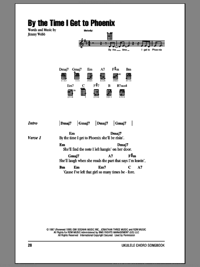By The Time I Get To Phoenix sheet music for ukulele (chords) by Johnny Rivers, Glen Campbell, Isaac Hayes and Jimmy Webb. Score Image Preview.