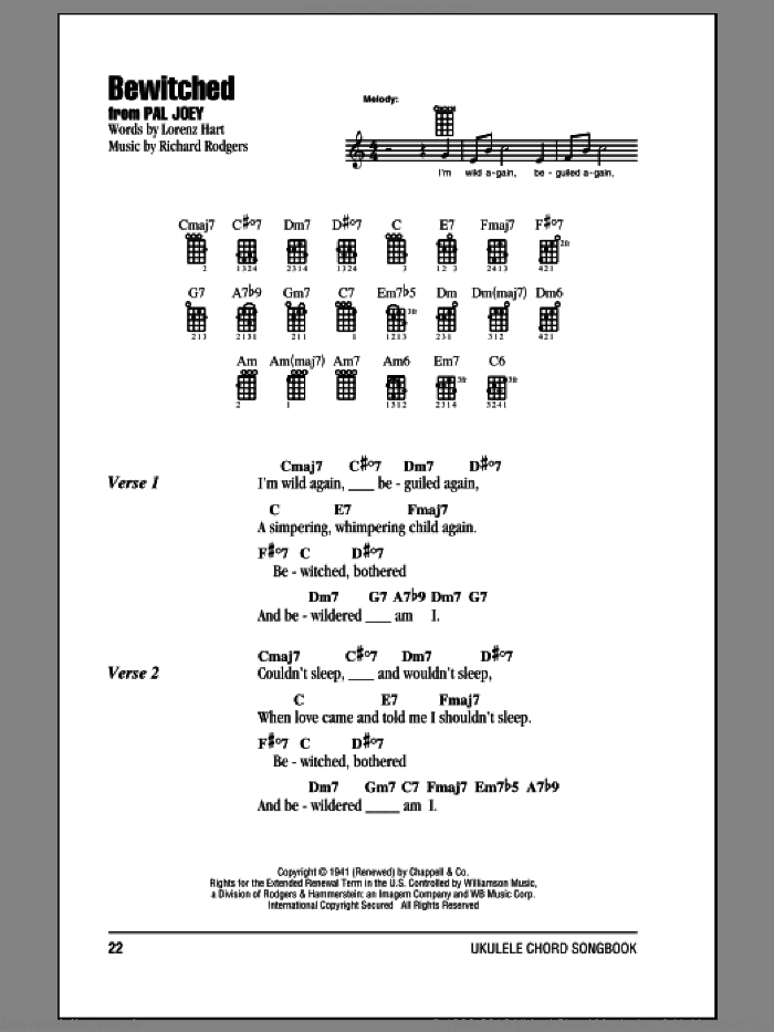 Bewitched sheet music for ukulele (chords) by Rodgers & Hart, Lorenz Hart and Richard Rodgers. Score Image Preview.