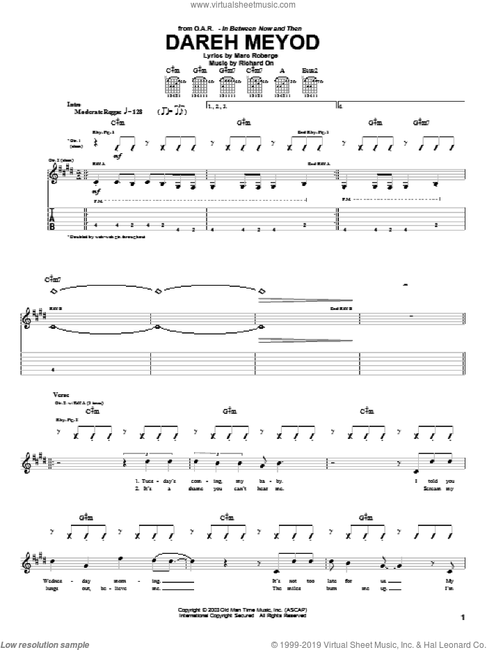 Dareh Meyod sheet music for guitar (tablature) by Richard On