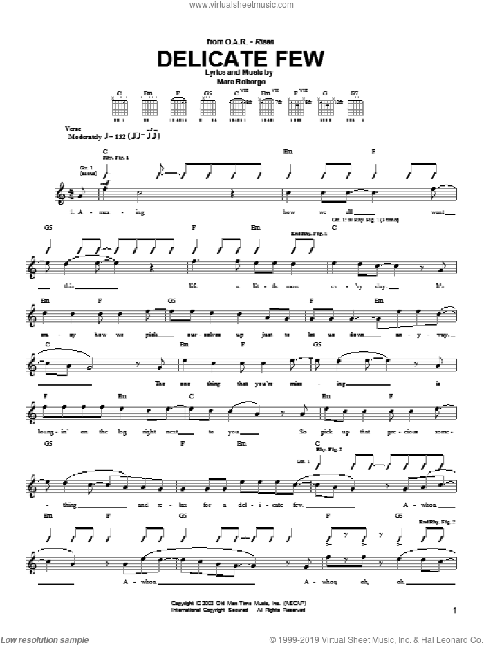 Delicate Few sheet music for guitar (tablature) by O.A.R.. Score Image Preview.