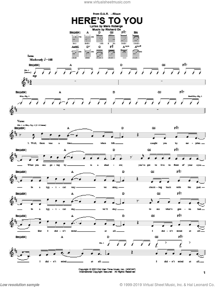 Here's To You sheet music for guitar (tablature) by Richard On