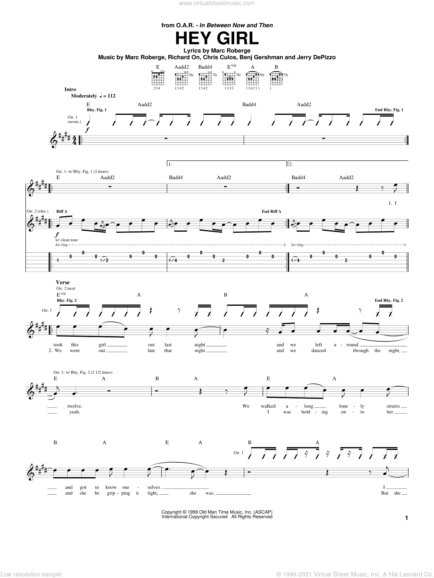 Hey Girl sheet music for guitar (tablature) by O.A.R., Benj Gershman, Chris Culos, Jerry DePizzo, Marc Roberge and Richard On, intermediate. Score Image Preview.