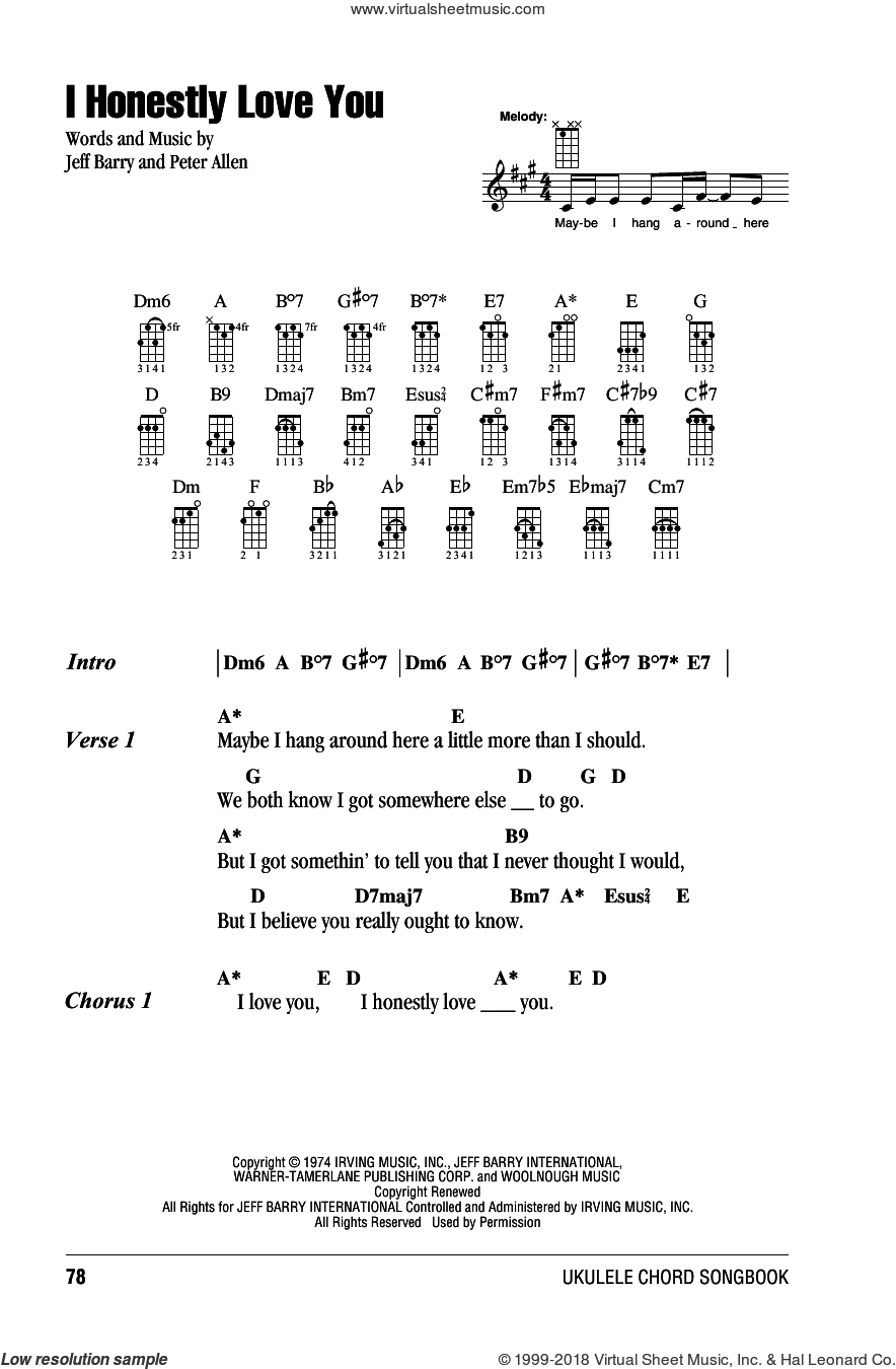 I Honestly Love You sheet music for ukulele (chords) by Peter Allen
