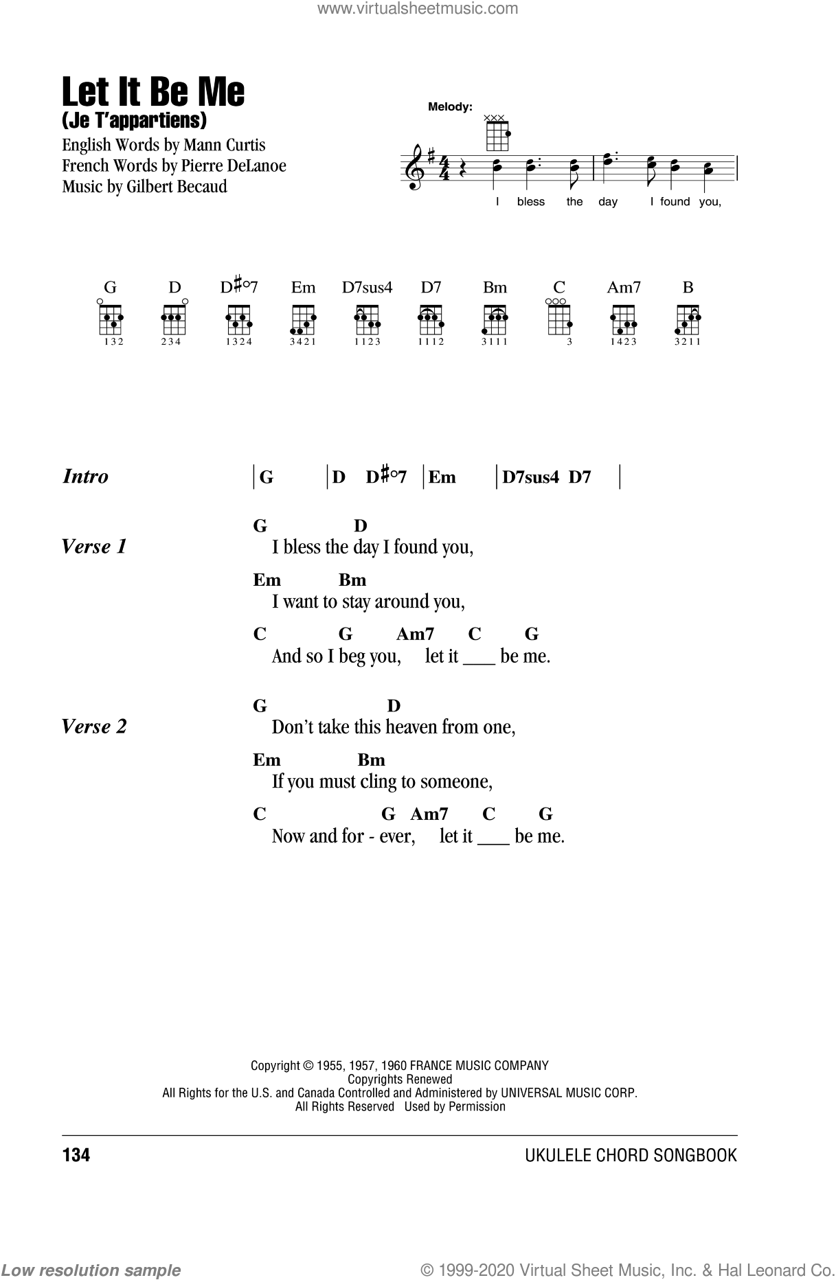 Let It Be Me (Je T'appartiens) sheet music for ukulele (chords) by Pierre Delanoe