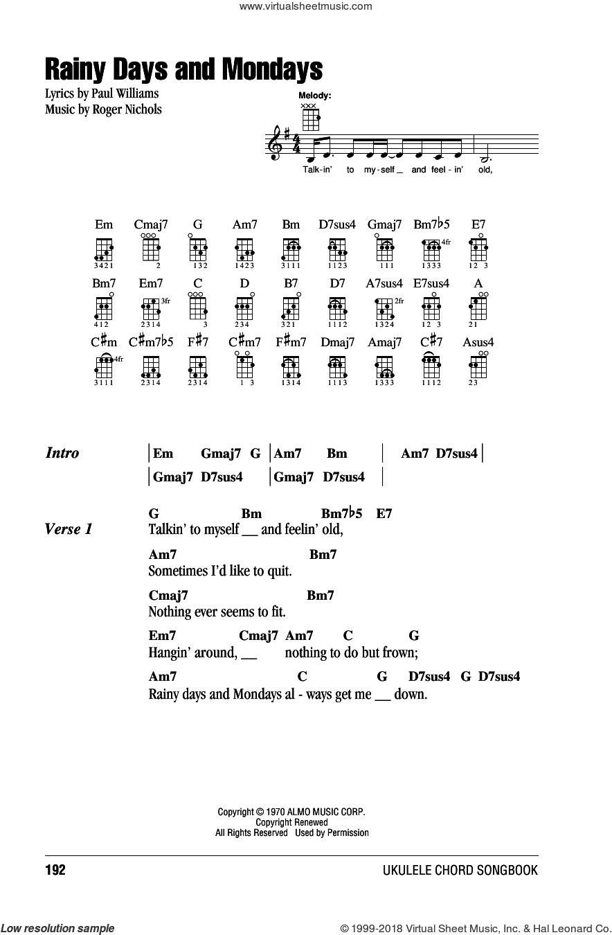Rainy Days And Mondays sheet music for ukulele (chords) by Carpenters and Paul Williams. Score Image Preview.