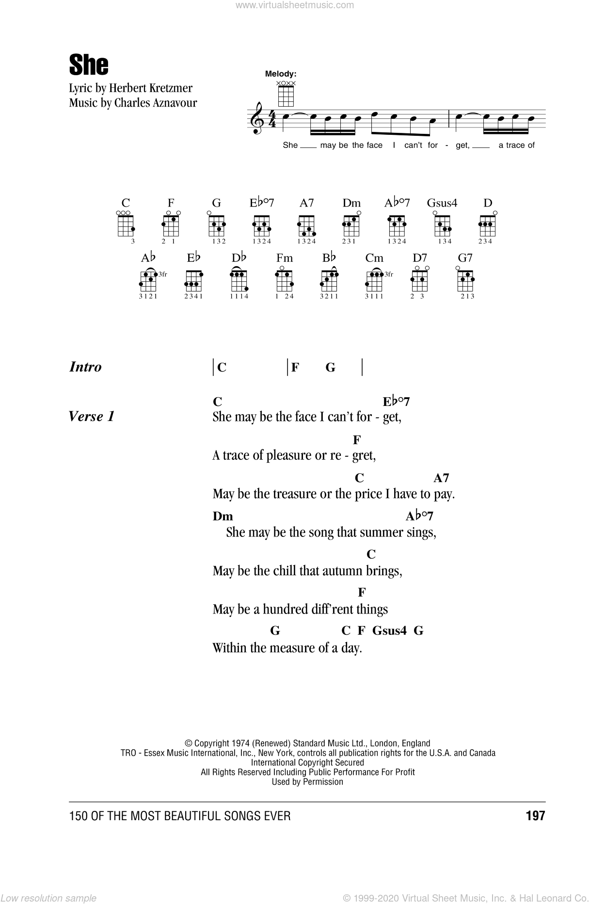 She sheet music for ukulele (chords) by Herbert Kretzmer