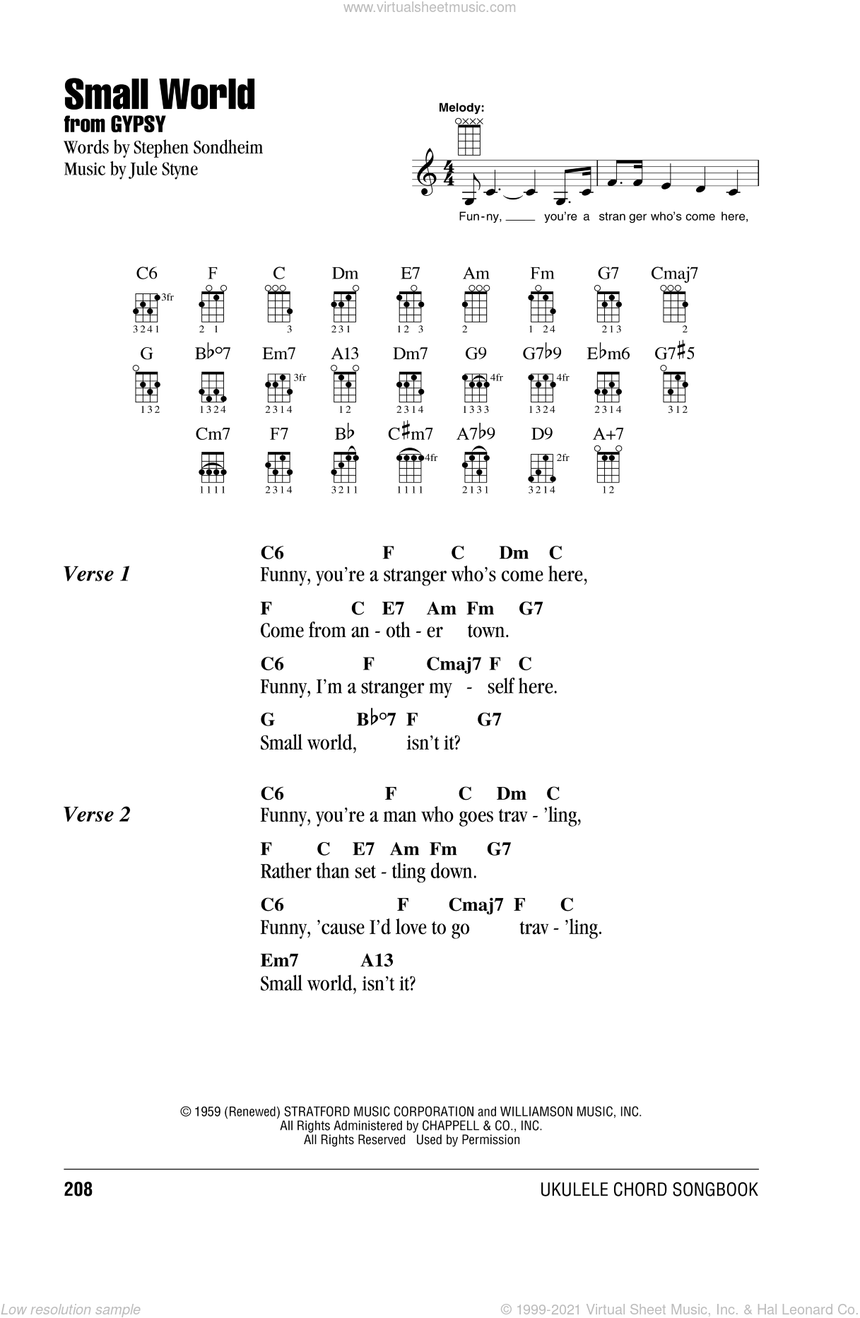 Small World sheet music for ukulele (chords) by Stephen Sondheim and Jule Styne. Score Image Preview.