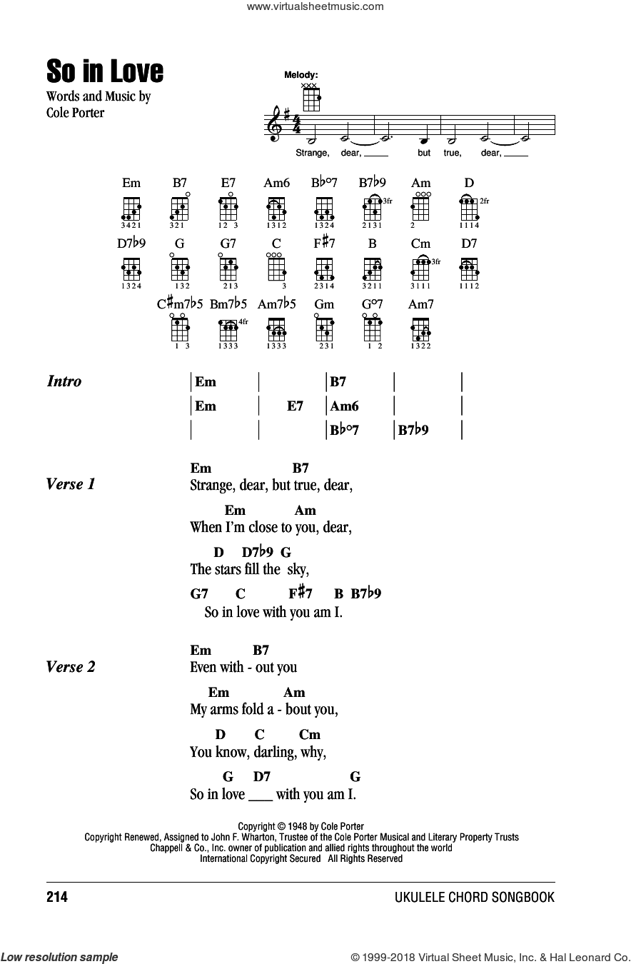 So In Love sheet music for ukulele (chords) by Cole Porter. Score Image Preview.