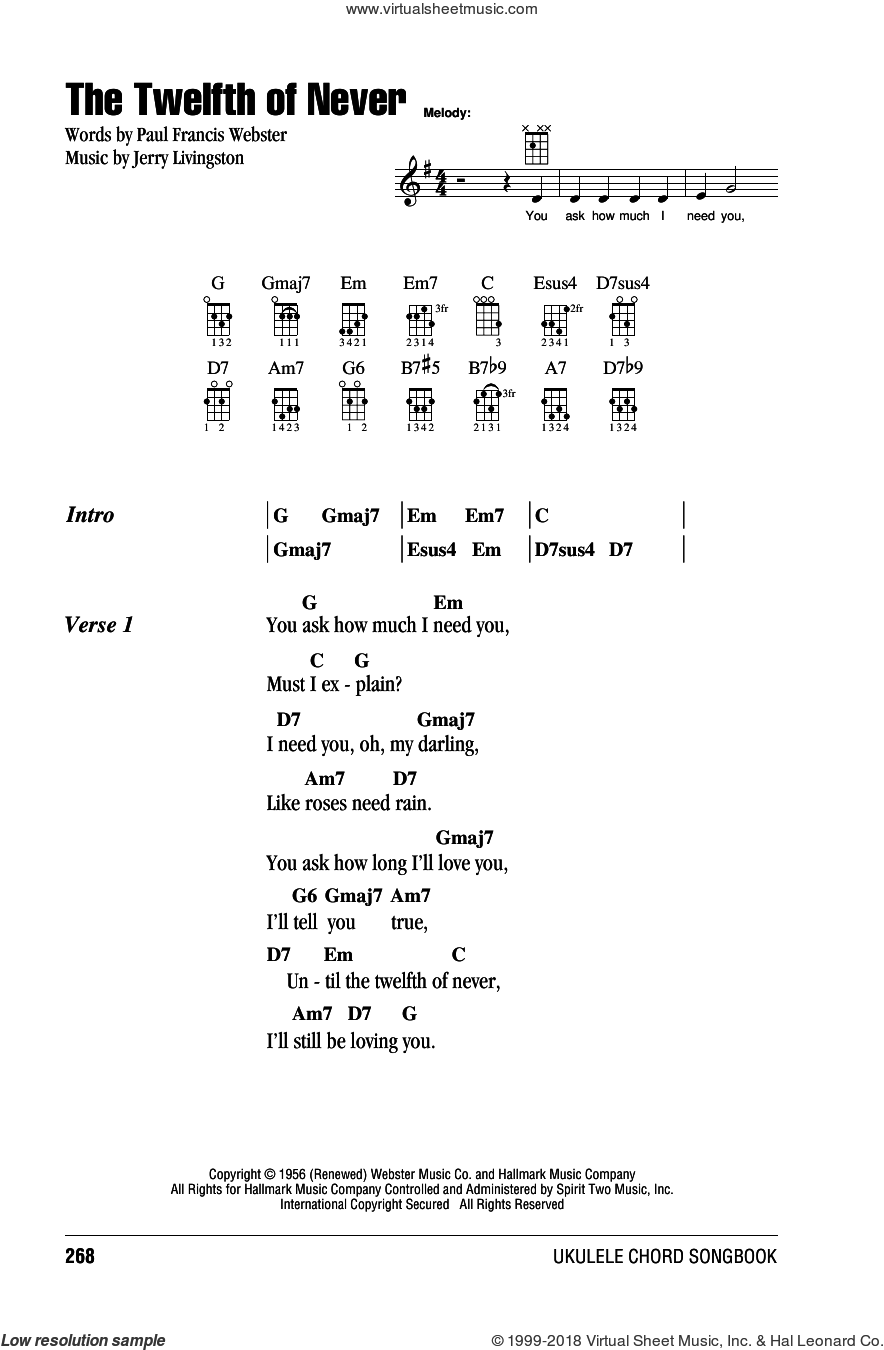 The Twelfth Of Never sheet music for ukulele (chords) by Johnny Mathis, Donny Osmond, Jerry Livingston and Paul Francis Webster. Score Image Preview.