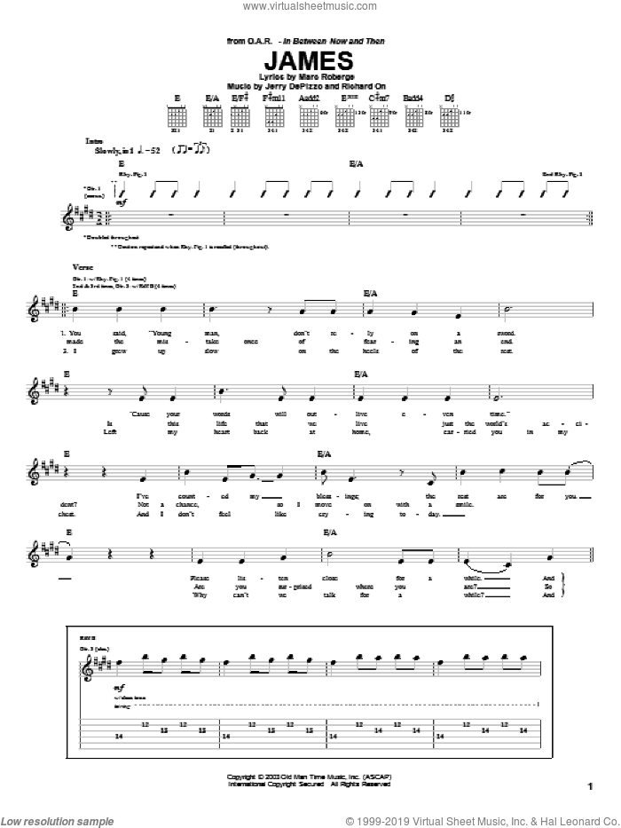 James sheet music for guitar (tablature) by Richard On, O.A.R. and Marc Roberge. Score Image Preview.