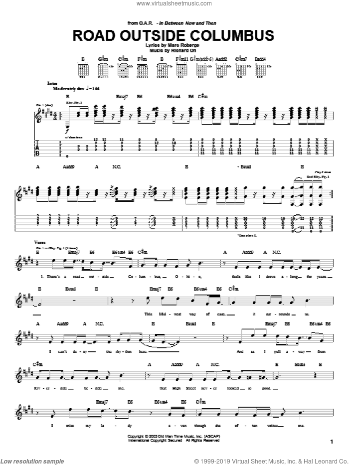 Road Outside Columbus sheet music for guitar (tablature) by Richard On, O.A.R. and Marc Roberge. Score Image Preview.