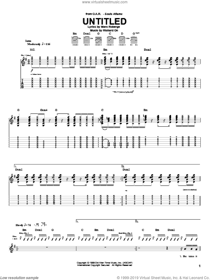 Untitled sheet music for guitar (tablature) by O.A.R., Marc Roberge and Richard On, intermediate skill level