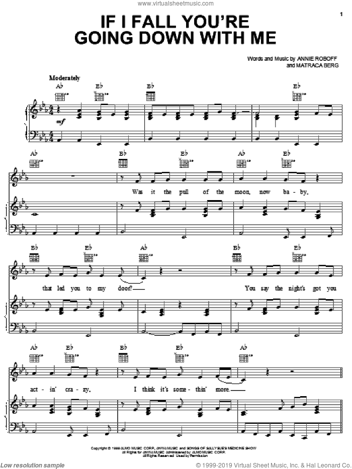 If I Fall You're Going Down With Me sheet music for voice, piano or guitar by Dixie Chicks, Annie Roboff and Matraca Berg. Score Image Preview.