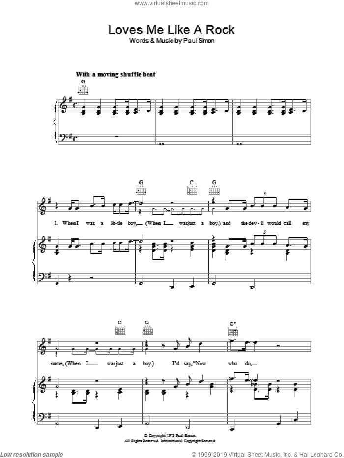 Loves Me Like A Rock sheet music for voice, piano or guitar by Paul Simon. Score Image Preview.