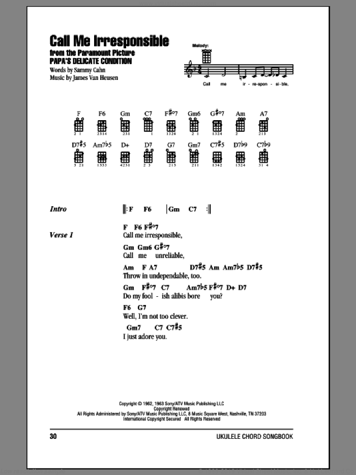 Call Me Irresponsible sheet music for ukulele (chords) by Frank Sinatra, Dinah Washington, Jack Jones, Jimmy van Heusen and Sammy Cahn, intermediate skill level