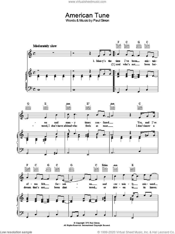 American Tune sheet music for voice, piano or guitar by Paul Simon