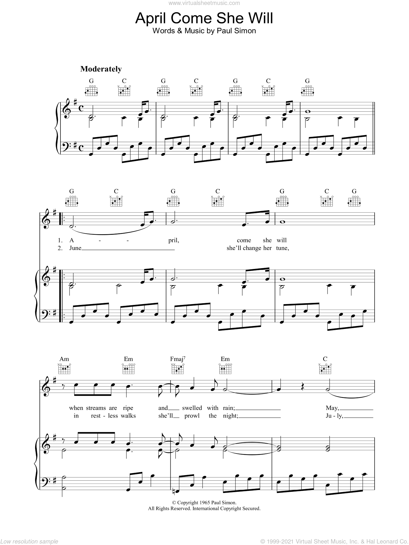Garfunkel - April Come She Will sheet music for voice, piano or guitar