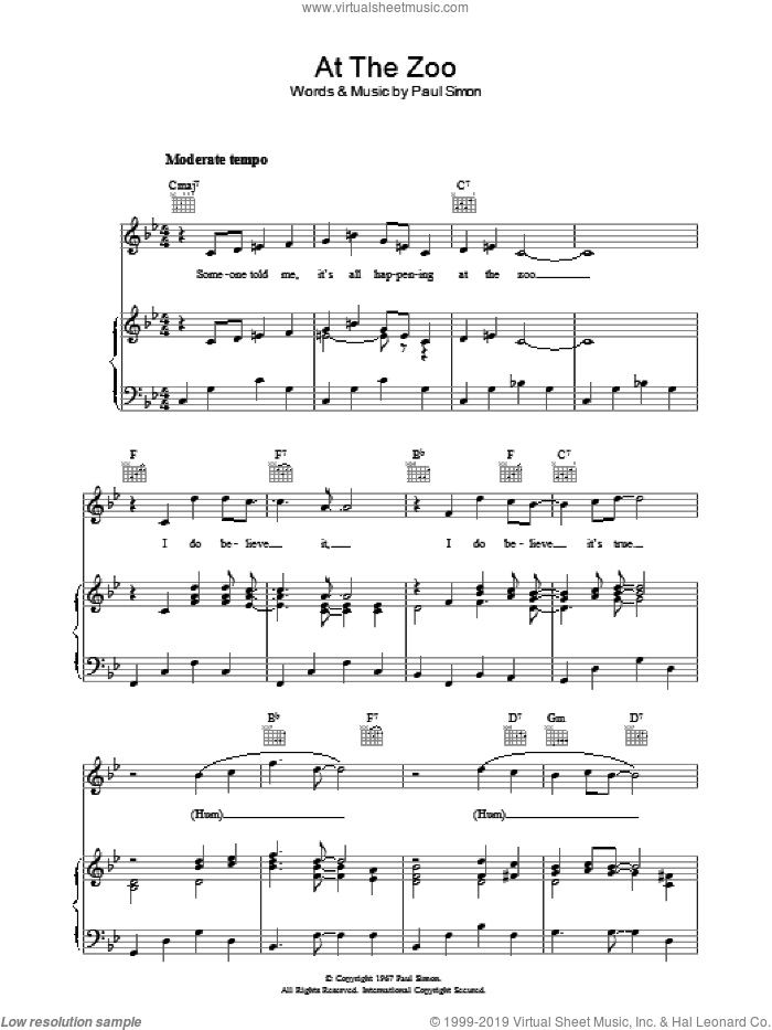 At The Zoo sheet music for voice, piano or guitar by Paul Simon and Simon & Garfunkel. Score Image Preview.