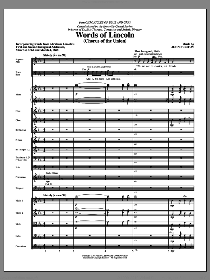 Words of Lincoln (COMPLETE) sheet music for orchestra/band by John Purifoy, intermediate. Score Image Preview.