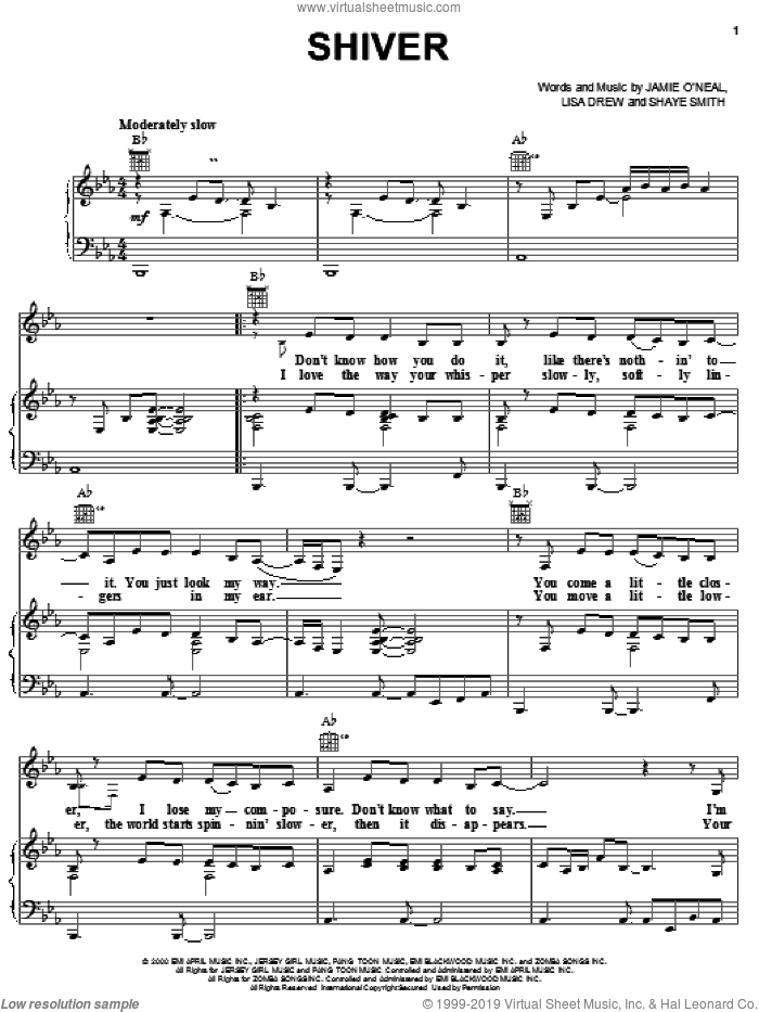 Shiver sheet music for voice, piano or guitar by Jamie O'Neal. Score Image Preview.