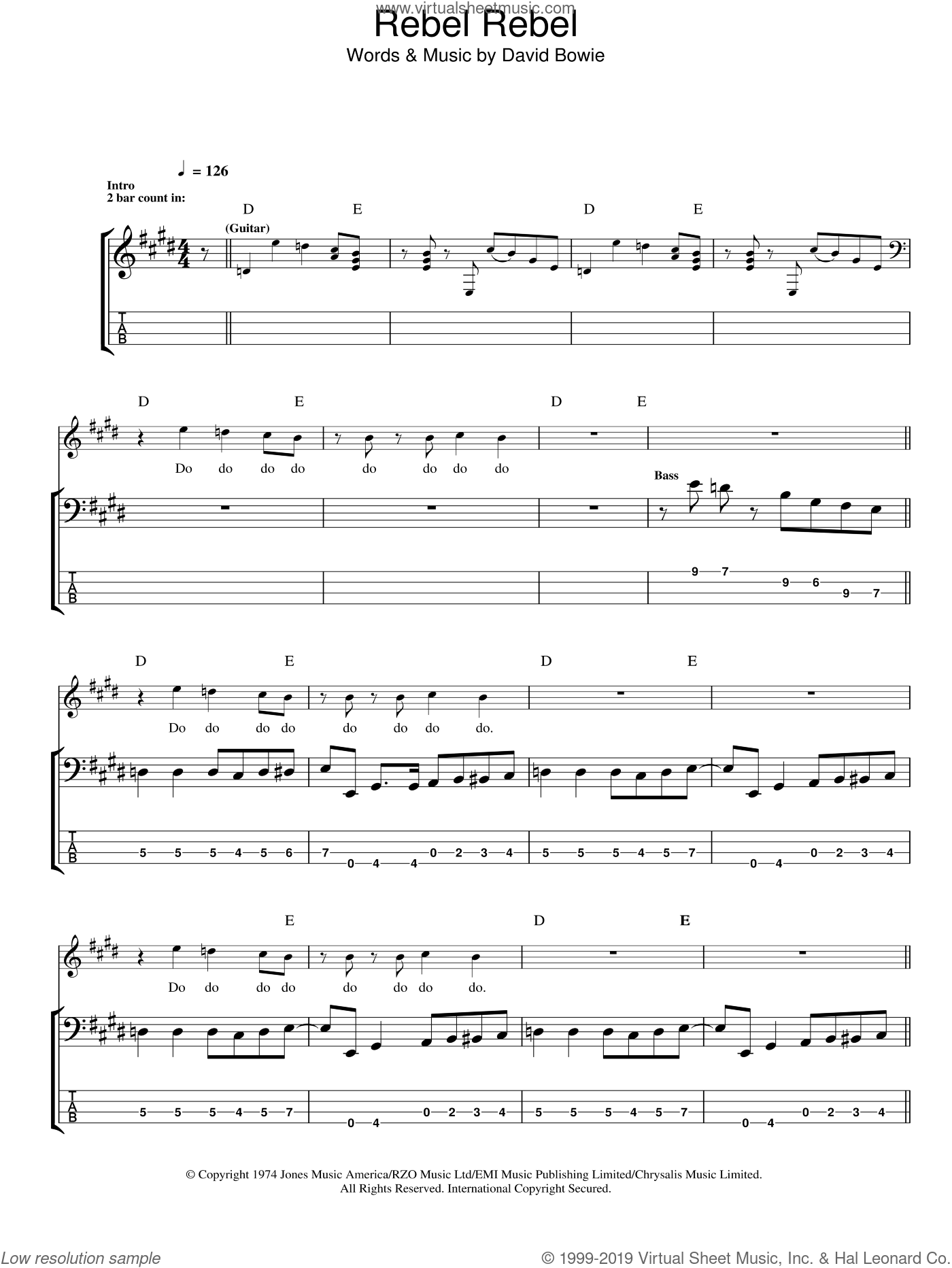 Rebel Rebel sheet music for bass (tablature) (bass guitar) by David Bowie, intermediate