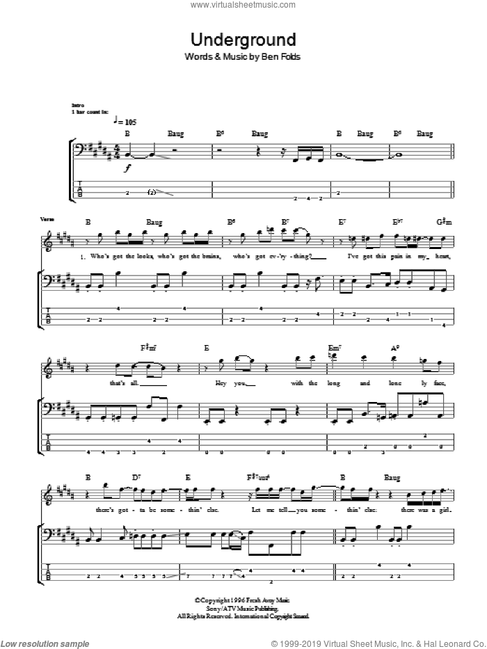 Underground sheet music for bass (tablature) (bass guitar) by Ben Folds and Ben Folds Five. Score Image Preview.