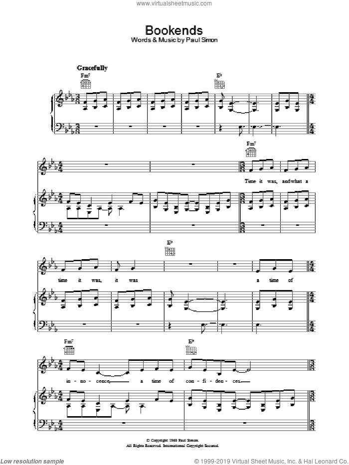 Bookends sheet music for voice, piano or guitar by Paul Simon and Simon & Garfunkel. Score Image Preview.