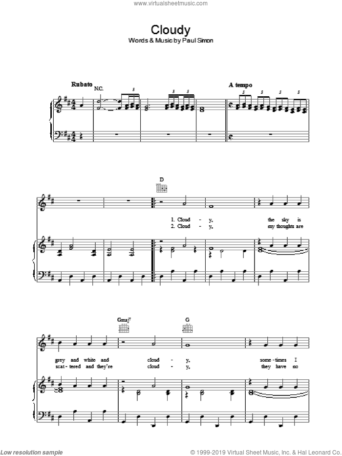 Cloudy sheet music for voice, piano or guitar by Simon & Garfunkel and Paul Simon. Score Image Preview.