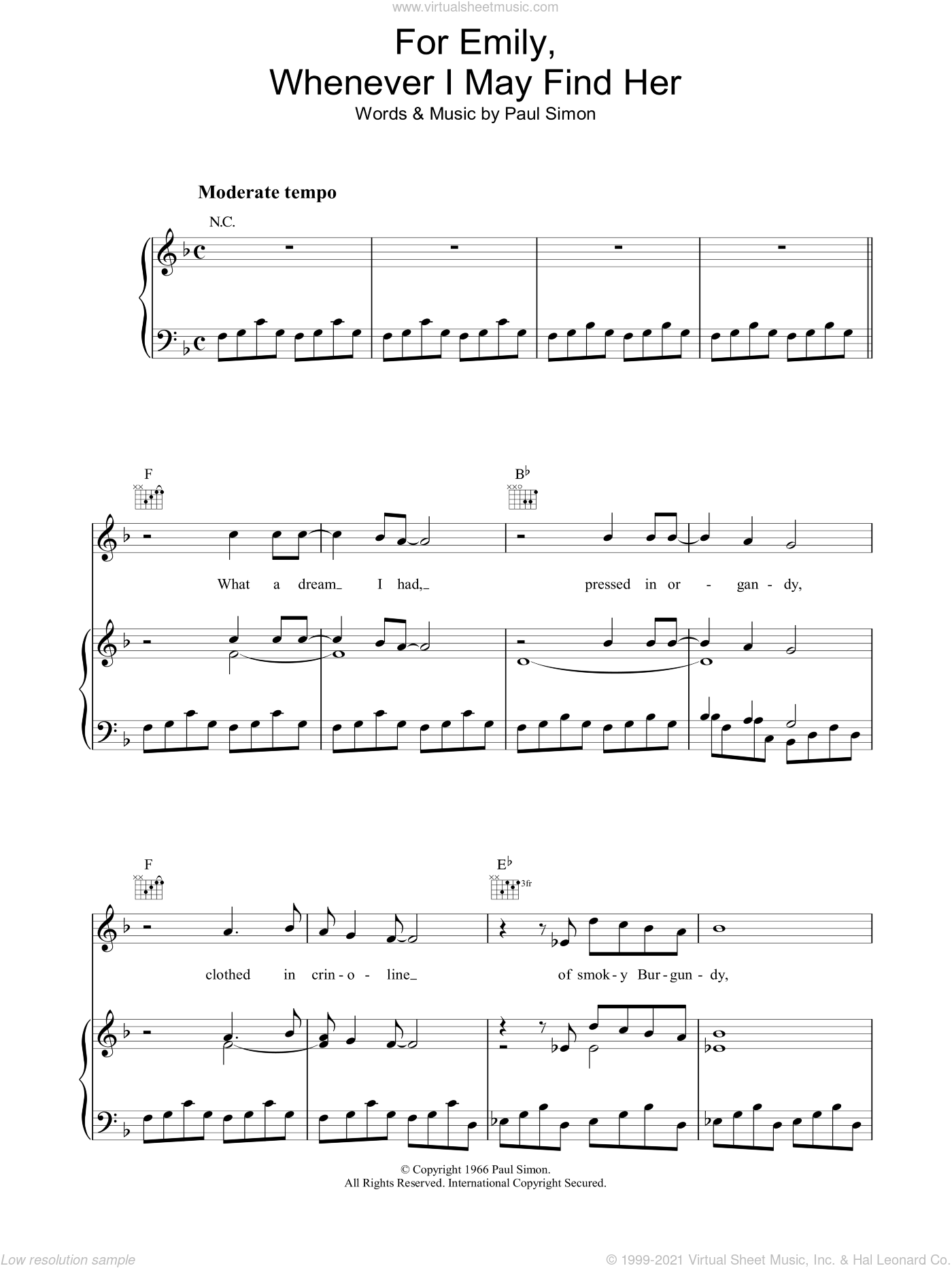 For Emily, Whenever I May Find Her sheet music for voice, piano or guitar by Paul Simon