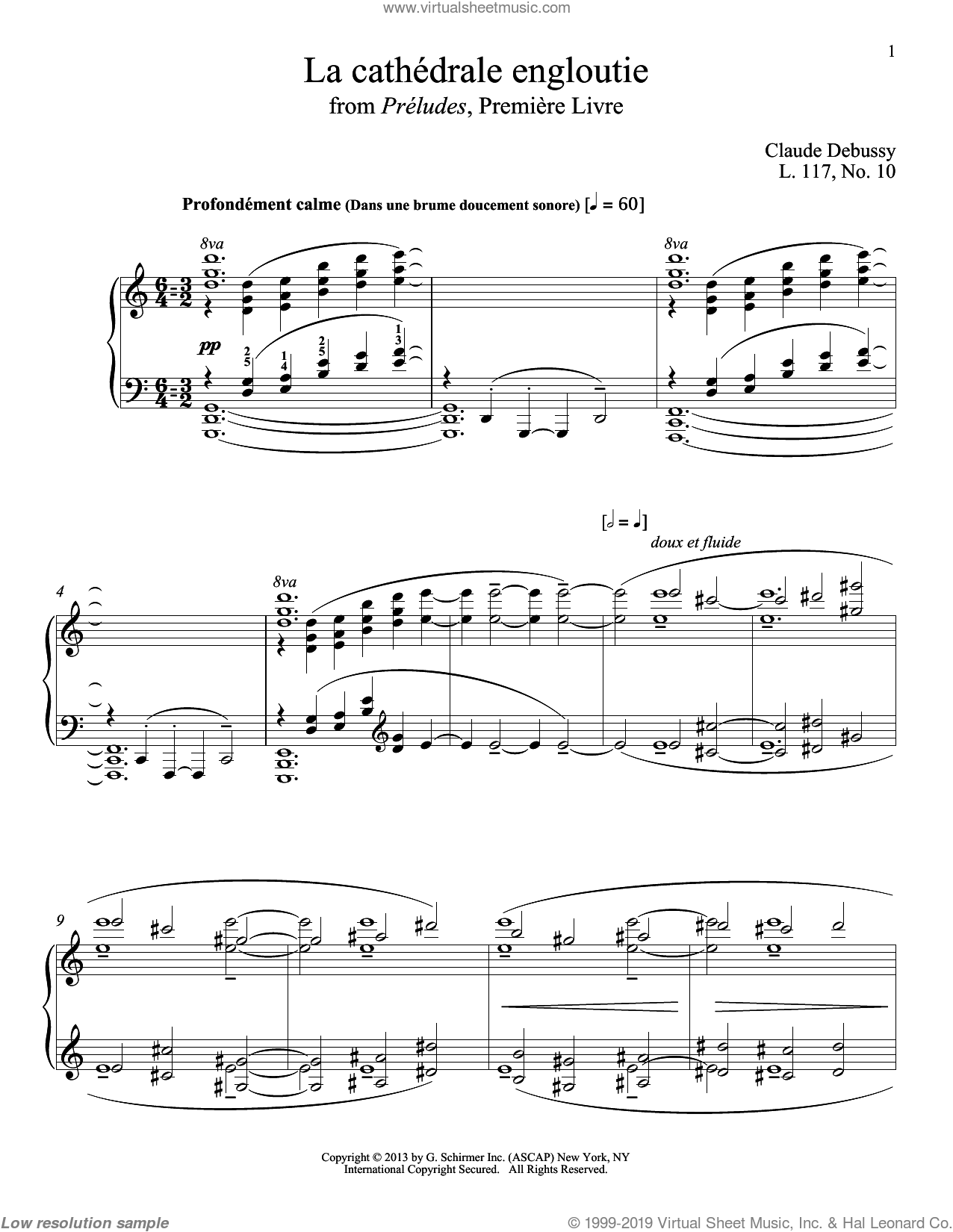 La Cathedrale Engloutie sheet music for piano solo by Claude Debussy and Christopher Harding, classical score, intermediate skill level