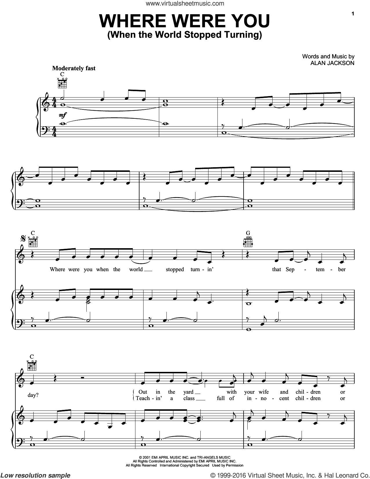 Where Were You (When The World Stopped Turning) sheet music for voice, piano or guitar by Alan Jackson. Score Image Preview.