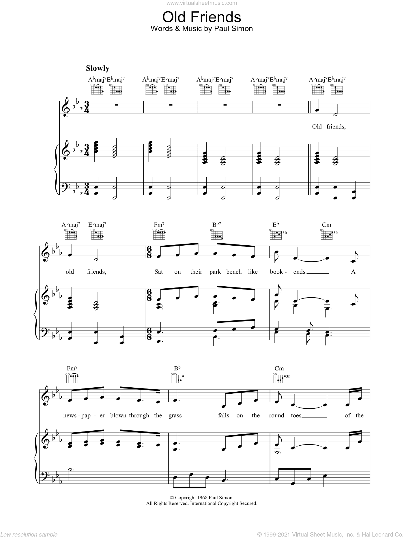 Old Friends sheet music for voice, piano or guitar by Paul Simon and Simon & Garfunkel. Score Image Preview.