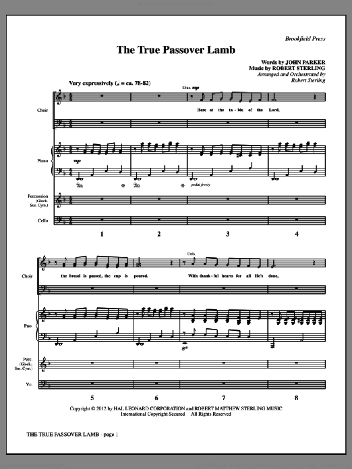 The True Passover Lamb (COMPLETE) sheet music for orchestra/band by John Parker and Robert Sterling, intermediate. Score Image Preview.